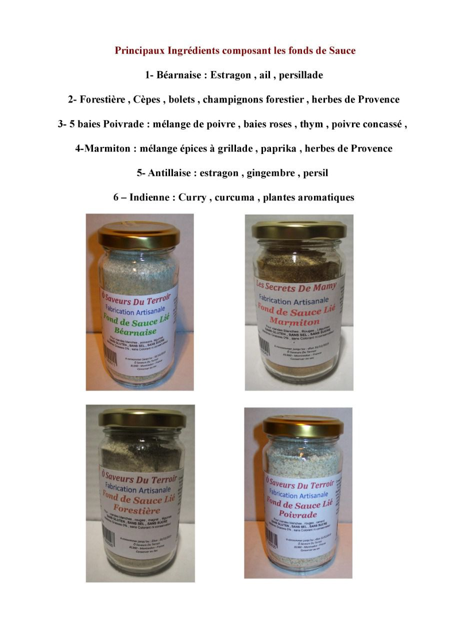 18 Fonds de Sauce pack de  3 pots de chaque 200 ML/100 gr - Copie
