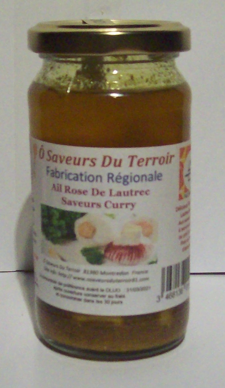 6 pots d'Ail Rose de Lautrec confit au Curry 200 ML